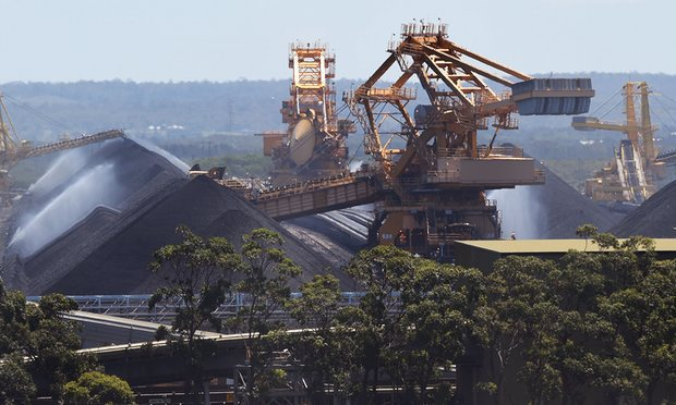 Coal stockpiles at the Port of Newcastle. Banks' continued lending to the industry showed they were 'desperate', said Julien Vincent of Market Forces. Photograph: William West/AFP/Getty Images